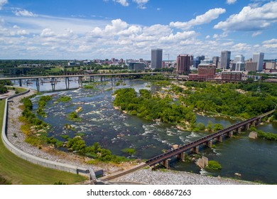 Aerial drone image of Downtown Richmond VA and James River