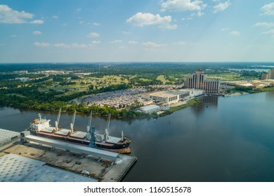Aerial drone image of Lake Charles Louisiana