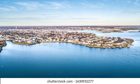 Aerial drone image of Long Island at sunset