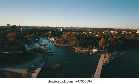 Aerial drone image of Oakville Harbour.