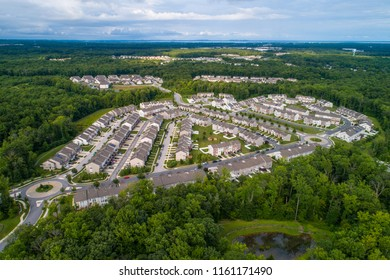 Aerial drone image of a residential development in Aberdeen Maryland USA