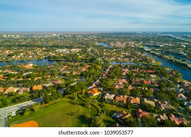 Aerial drone image of residential neighborhoods in Weston Florida United States
