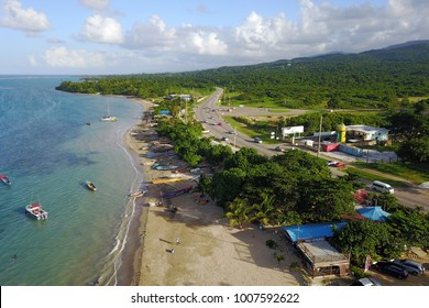 Aerial drone image of Salem Paradise Beach, a beautiful public beach in Salen, northern Jamaica.