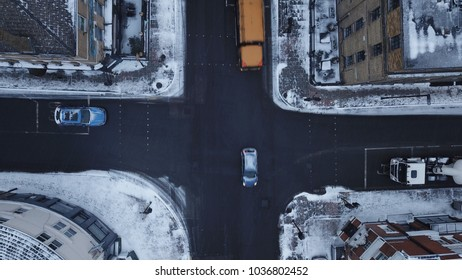 Aerial drone image of South London, England during a snowstorm, March 1, 2018.