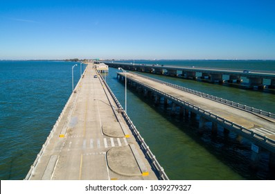 Aerial drone image of the Sunshine Skyway bridge and fishing pier Tampa Florida USA