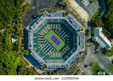 Aerial drone image of a tennis stadium