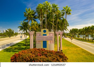 Aerial drone image Welcome to Miami Beach road sign