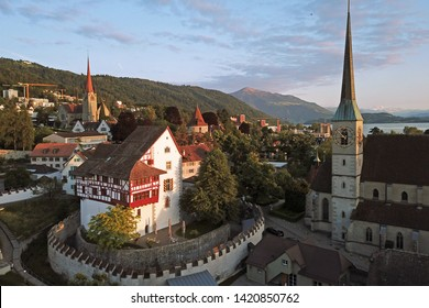 Aerial drone image of Zug, Switzerland with focus on the Zug Castle
