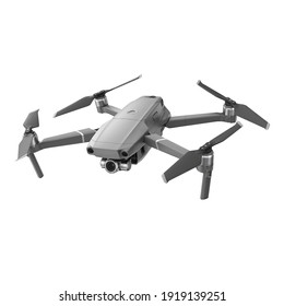 Aerial Drone Isolated on White Background. Top Front Side View Quad Copter with Digital Camera. Flying Remote Control Air Drone. Headless Quadcopter with 4K Hasselblad Camera and Remote Control