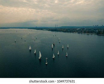 Aerial drone landcape with yachts on river