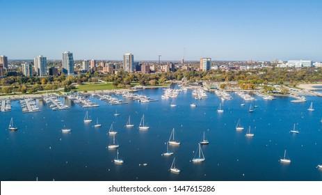 Aerial Drone Milwaukee Marina Wisconsin