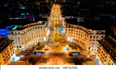 Aerial drone night shot of iconic illuminated Aristotelous square in the heart of Thessalloniki or Salonica, North Greece