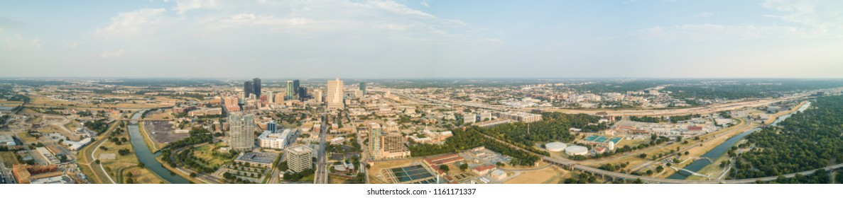 Aerial drone panorama of Fort Worth Texas USA
