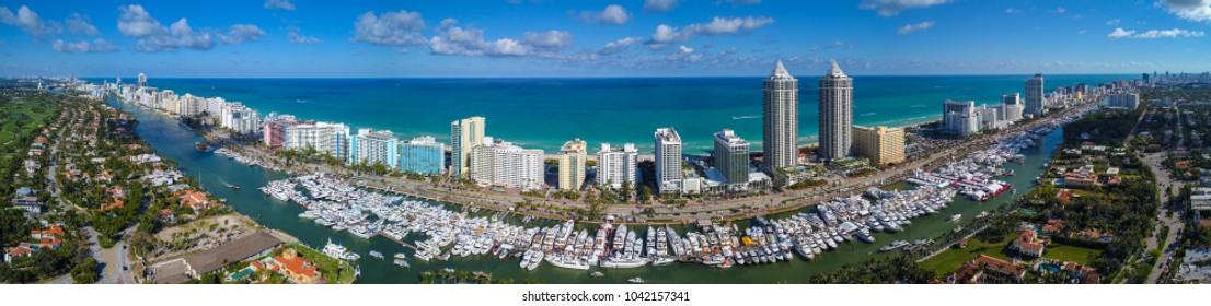 Aerial drone panorama Miami Beach Boat Show 2018