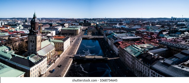 Aerial drone panorama photo - Big Harbour Canal and Christina Church. Gothenburg, Sweden