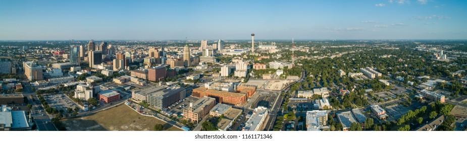 Aerial drone panorama of San Antonio Texas city scene
