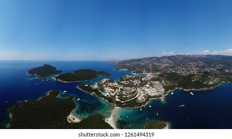 Aerial drone panoramic high resolution photo of iconic city and bay of Sivota, Epirus, Ionian, Greece