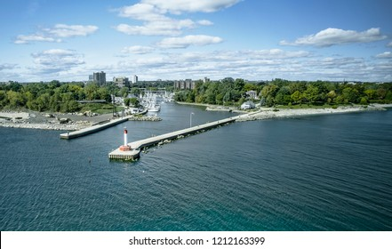 Aerial drone panoramic image of Oakville marina during autumn in Ontario, Canada