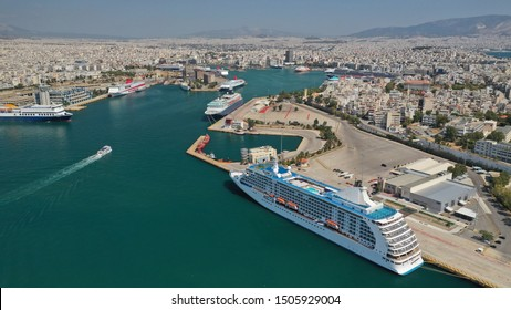 Aerial drone panoramic photo of busy port of Piraeus, the largest in Greece and one of the largest passenger ports in Europe, Attica, Greece
