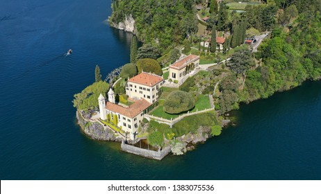 Aerial drone panoramic photo of famous beautiful Villa Balbianello in lake Como one of the deepest in Europe, Lombardy, Italy