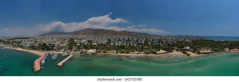 Aerial drone panoramic photo of famous seaside area of Glyfada, Attica, Athens riviera, Greece