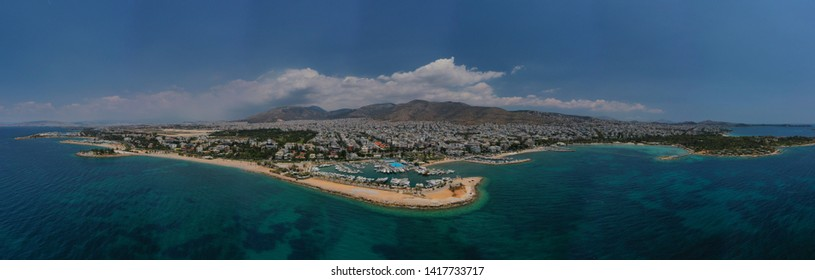 Aerial drone panoramic photo of famous seaside area and port of Glyfada, Attica, Athens riviera, Greece