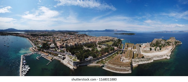 Aerial drone panoramic view of iconic and picturesque old town of Corfu a UNESCO world heritage site, Ionian, Greece