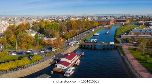 Aerial drone panoramic view of St. Peterburg. Bridge between Petrograd side and Hare Island. Sankt Peterburg. Istoric center. Bridges Architecture of Rusia.