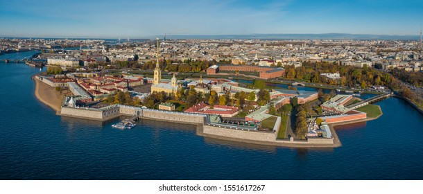 Aerial drone panoramic view of St. Peterburg. Hare Island and Peter Pavel Fortress. Sankt Peterburg. Istoric center. Bridges Architecture of Rusia.