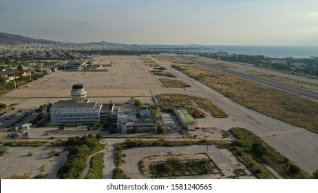 Aerial drone photo of abandoned runway in former international airport of Greece in Elliniko area, South Athens riviera, Attica, Greece