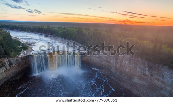 An aerial drone photo of Alexandra Falls near Hay River, Northwest Territories, Canada.