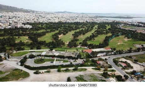 Aerial drone photo of Athens public golf course at Elliniko, Glyfada, Greece