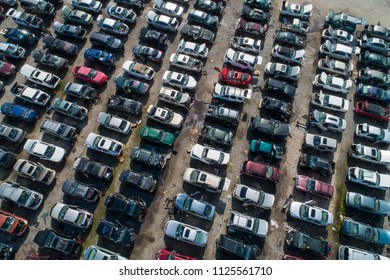 Aerial drone photo of an automotive junk yard