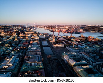 Aerial drone photo -Beautiful cityscape of Gothenburg Sweden at sunrise