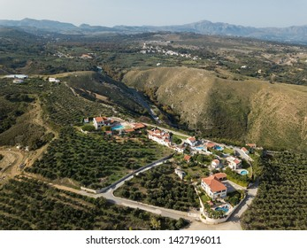 Aerial drone photo of beautiful cretan village