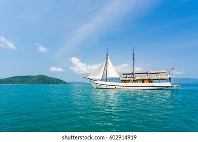 Aerial drone photo of a boat in tropical turquoise water Koh Samui Island, Thailand