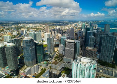 Aerial drone photo of Brickell Miami FL