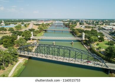 Aerial drone photo bridges over Brazos River Waco Texas
