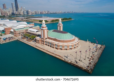 Aerial drone photo of the Chicago Navy Pier