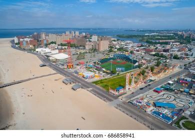 Aerial drone photo of Coney Island New York USA