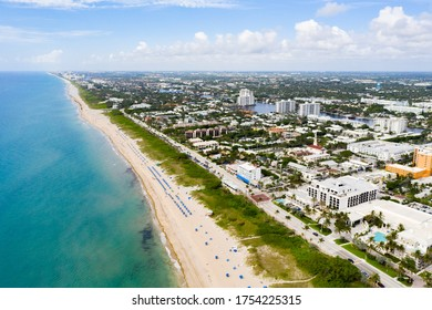 Aerial drone photo Delray Beach Florida reopening during Coronavirus Covid 19 pandemic