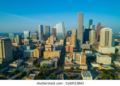 Aerial drone photo Downtown Houston Texas skyscrapers business district