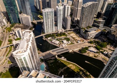 Aerial drone photo Downtown Miami Florida USA