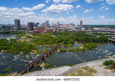 Aerial drone photo of Downtown Richmond VA and James River landscape
