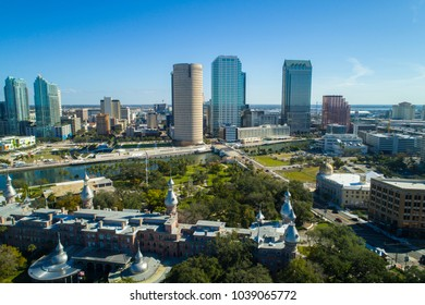 Aerial drone photo of Downtown Tampa far away new and historical architecture