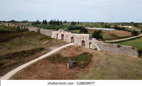 Aerial drone photo of famous ancient walls of iconic Roman city of Nikopolis one of the largest ancient cities in North Greece, Preveza, Epirus