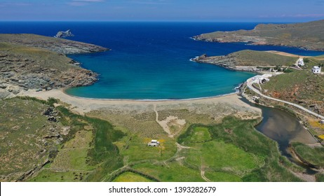 Aerial drone photo of famous beach of Kolympithres with deep turquoise sea, Tinos island, Cyclades, Greece