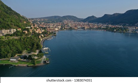 Aerial drone photo of famous beautiful Villa Geno and fountain in lake Como one of the deepest in Europe, Lombardy, Italy