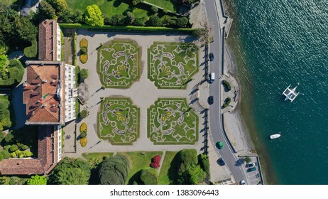 Aerial drone photo of famous beautiful Villa Sola Cabiati in lake Como one of the deepest in Europe, Lombardy, Italy