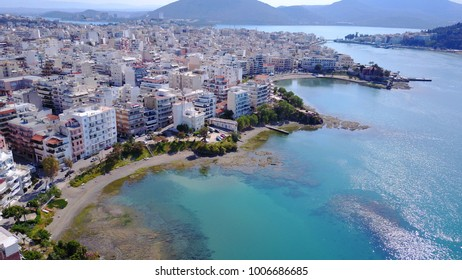 Aerial drone photo from famous city of Halkida with clear water seascape and traditional character, Evoia island, Greece